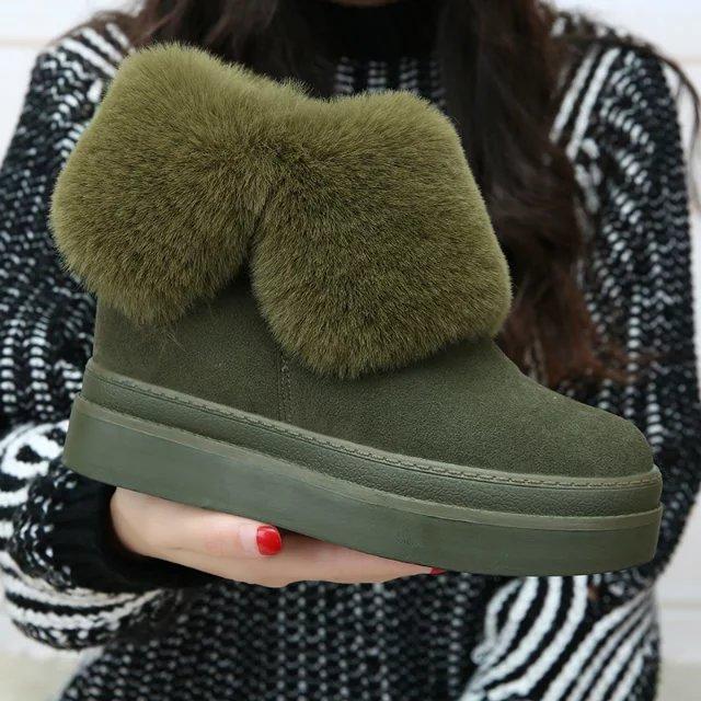 绿色坡跟鞋 2016冬季新款内增高女鞋韩版保暖棉鞋厚底翻毛雪地靴军绿坡跟短靴_推荐淘宝好看的绿色坡跟鞋