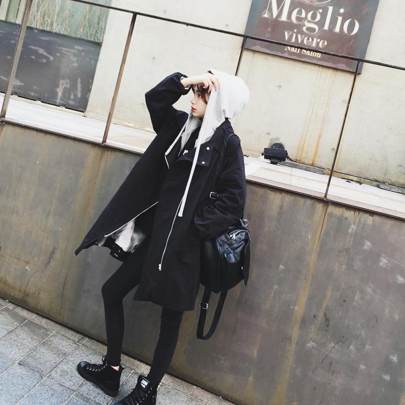 带帽风衣 2016春装新款带帽学生风衣女 韩版秋季宽松中长款工装连帽外套 潮_推荐淘宝好看的女带帽风衣