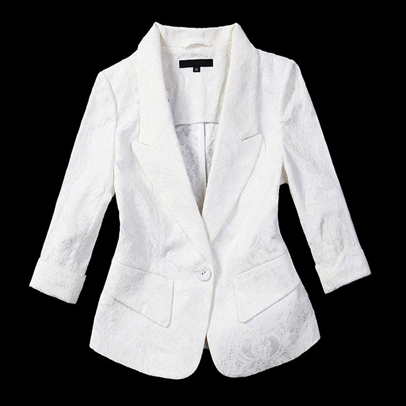 女士小西服 衣另小西服2017夏新款蕾丝薄中袖白色西装女修身气质韩版外套上衣_推荐淘宝好看的女小西装