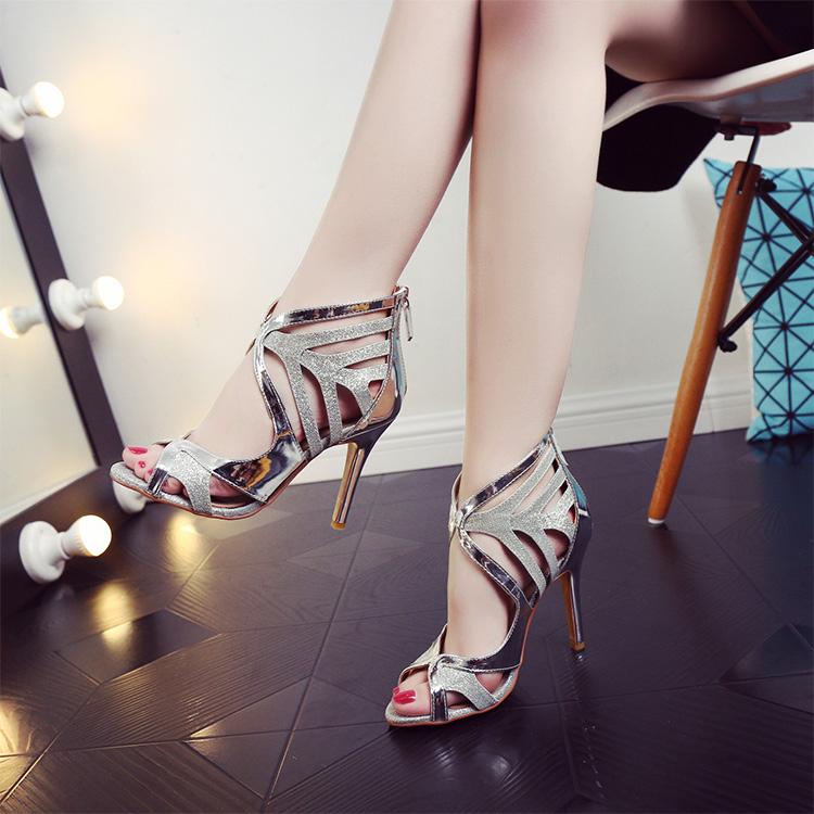 鱼嘴罗马鞋 欧美2106新款高跟凉鞋女夏细跟高跟鞋鱼嘴真皮罗马鞋性感露趾女鞋_推荐淘宝好看的鱼嘴罗马鞋
