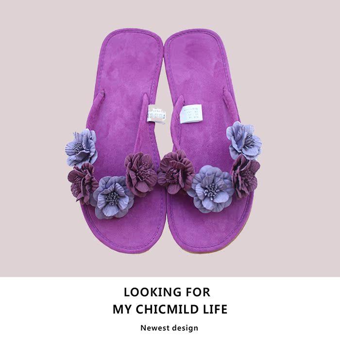 紫色凉鞋 CHICMILD独家定制手工制作原创人字拖紫色蔷薇拖鞋甜美夏季凉鞋女_推荐淘宝好看的紫色凉鞋