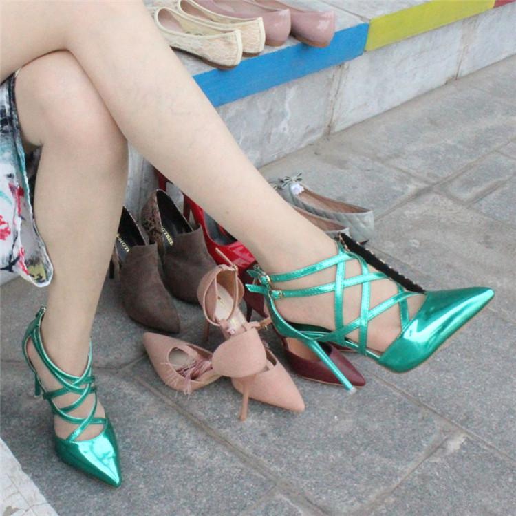 绿色罗马鞋 绿色38码  特价清仓  性感细跟尖头交绑带带罗马高跟鞋镂空女单鞋_推荐淘宝好看的绿色罗马鞋