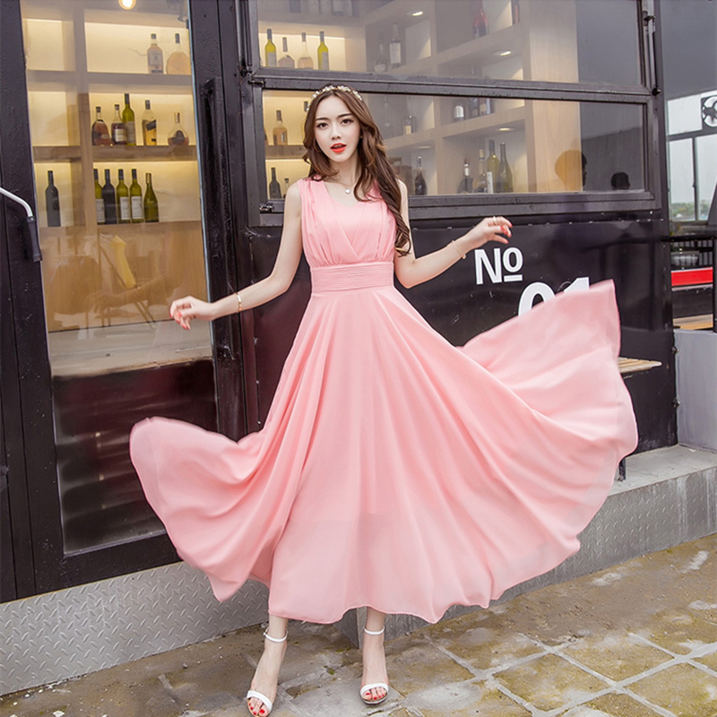粉红色连衣裙 欧美时尚新款超长款雪纺气质长裙海边大摆沙滩裙显瘦飘逸连衣裙夏_推荐淘宝好看的粉红色连衣裙