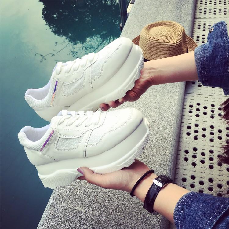 白色厚底鞋 厚底小白鞋 松糕鞋增高鞋圆头休闲鞋 韩版系带白色运动鞋 女单鞋_推荐淘宝好看的白色厚底鞋
