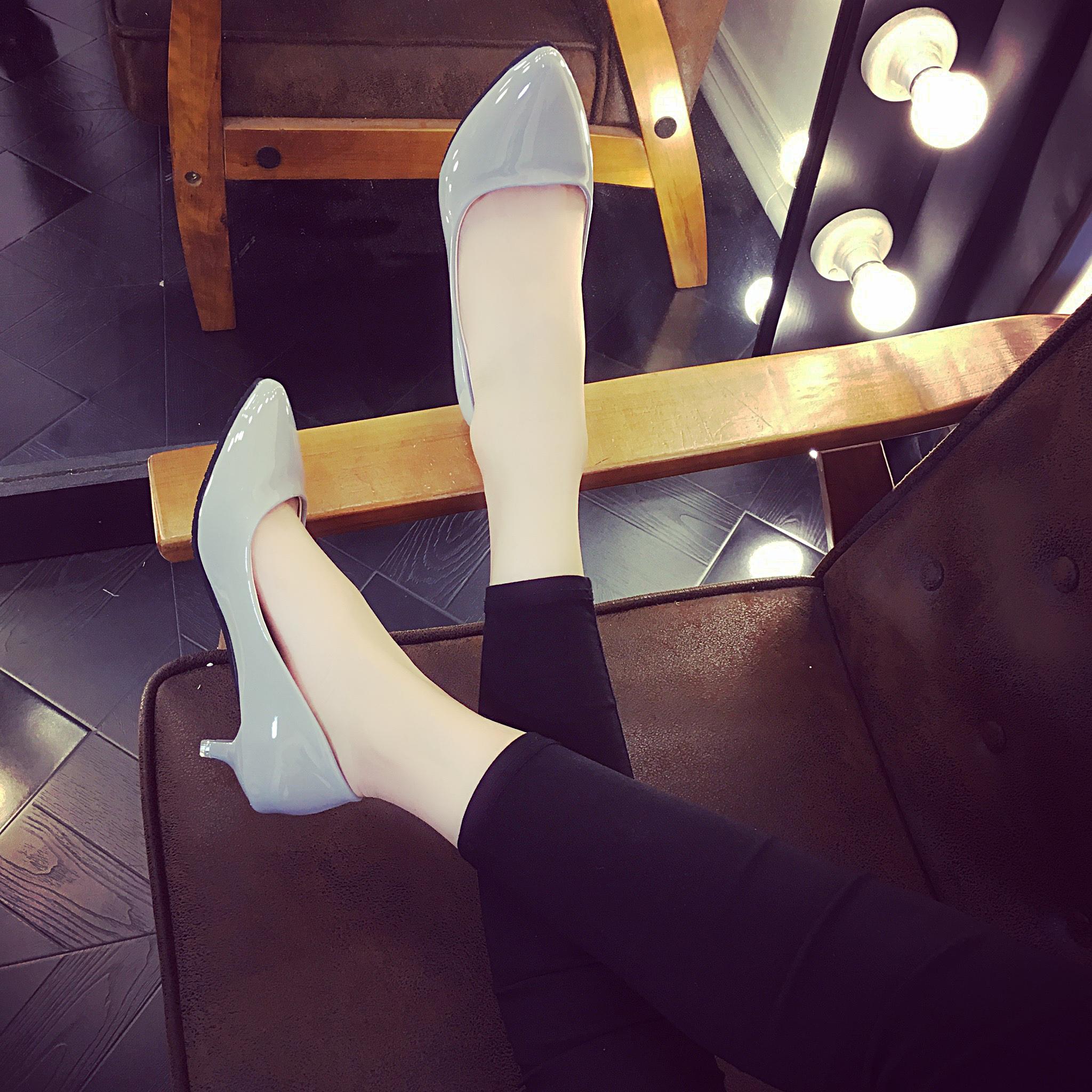 漆皮高跟单鞋 高跟鞋细跟低跟尖头矮跟女夏小跟百搭漆皮性感春秋浅口工作鞋单鞋_推荐淘宝好看的女漆皮高跟单鞋