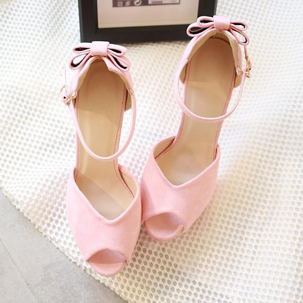 粉红色罗马鞋 韩国单绒面高跟一字扣带细跟防水台凉鞋粉红蝴蝶结鱼嘴罗马凉鞋_推荐淘宝好看的粉红色罗马鞋