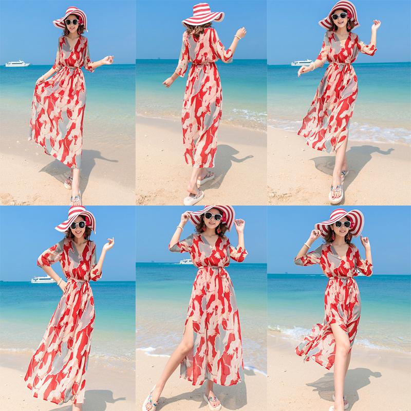 雪纺连衣裙 泰国风2017新款雪纺显瘦连衣裙波西米亚长裙海边度假海滩沙滩裙仙_推荐淘宝好看的雪纺连衣裙