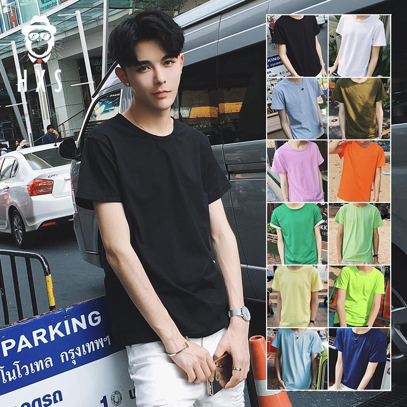 绿色T恤 男士短袖圆领纯黑色纯色T恤韩版宽松2017新款夏季学生半袖体恤潮_推荐淘宝好看的绿色T恤