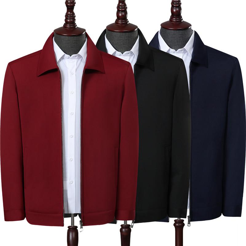 外套夹克 加绒加厚新款春季中老年红色夹克男装爸爸装翻领中厚款棉衣男外套_推荐淘宝好看的男外套夹克