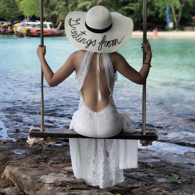 性感蕾丝连衣裙 吊带露背沙滩裙海边度假镂空挂脖裙子心机性感白色蕾丝连衣裙长裙_推荐淘宝好看的性感蕾丝连衣裙