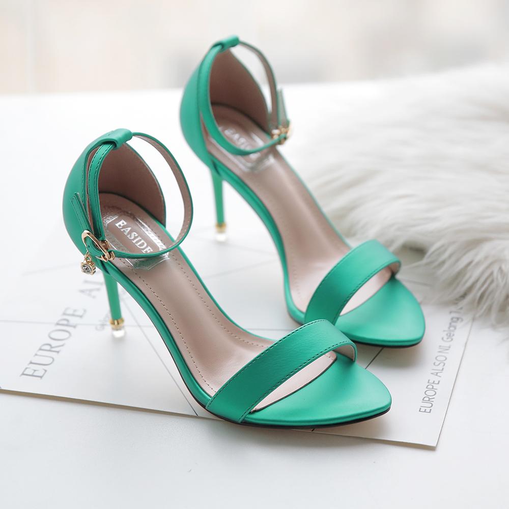 绿色凉鞋 伊斯迪EASIDE女鞋凉鞋高跟鞋水钻细跟鱼嘴绿色黄色黑色糖果色中空_推荐淘宝好看的绿色凉鞋