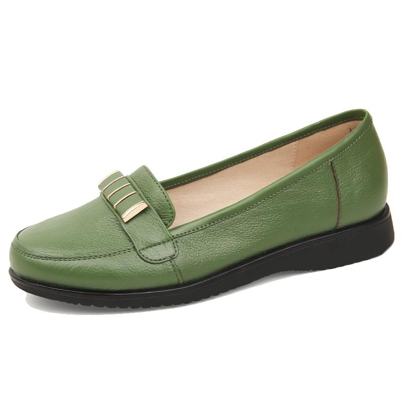 绿色厚底鞋 春季新款妈妈鞋真皮平底中老年人单鞋厚底绿色皮鞋防滑软面皮女鞋_推荐淘宝好看的绿色厚底鞋