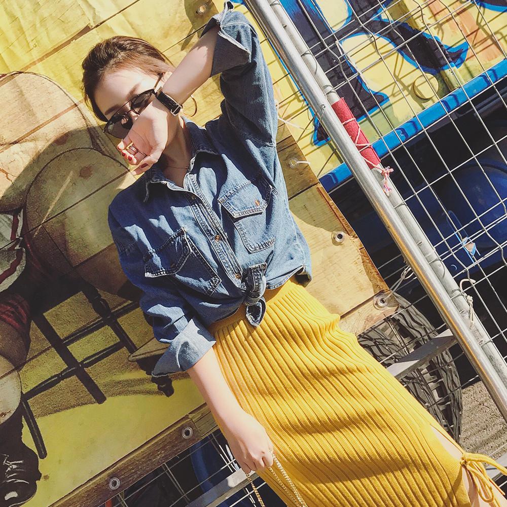 韩版牛仔衬衫 PINZIKO2017春季新款女装上衣韩版百搭bf长袖修身牛仔衬衫CD71037_推荐淘宝好看的女韩版牛仔衬衫