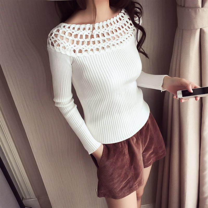 镂空针织衫 2016秋季新款韩版一字领套头镂空针织衫修身显瘦长袖打底衫女上衣_推荐淘宝好看的镂空针织衫