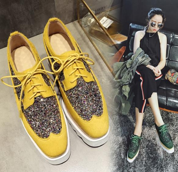 黄色松糕鞋 女鞋子厚底松糕系带方头高坡跟马毛绿黄色亮片及祼踝短筒马丁单靴_推荐淘宝好看的黄色松糕鞋