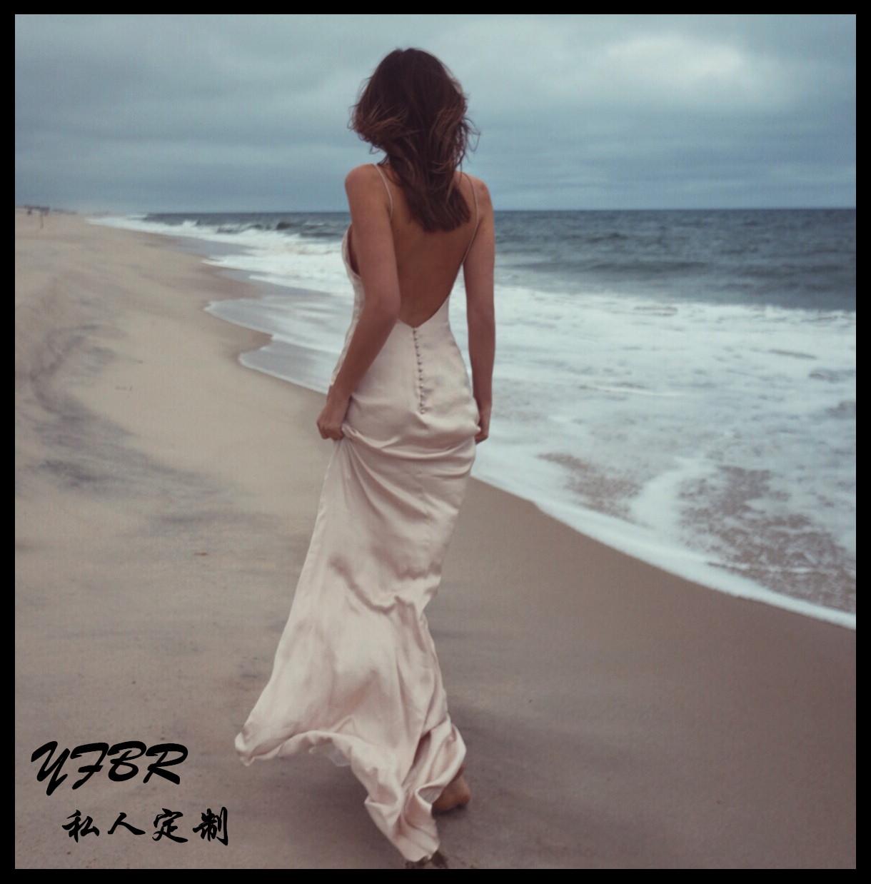 白色吊带连衣裙 欧美大牌性感深V领吊带露背雪纺拖地长裙连衣裙海边度假沙滩裙仙_推荐淘宝好看的白色吊带连衣裙