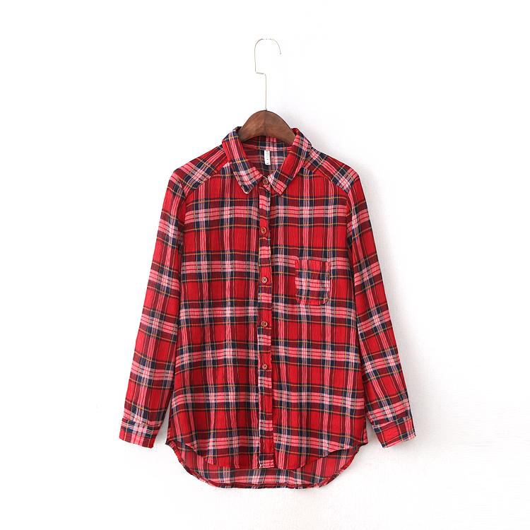 红色格子衬衫 韩版格子翻领长袖修身显瘦衬衫 2017春季女装新款Q15_推荐淘宝好看的女红色格子衬衫