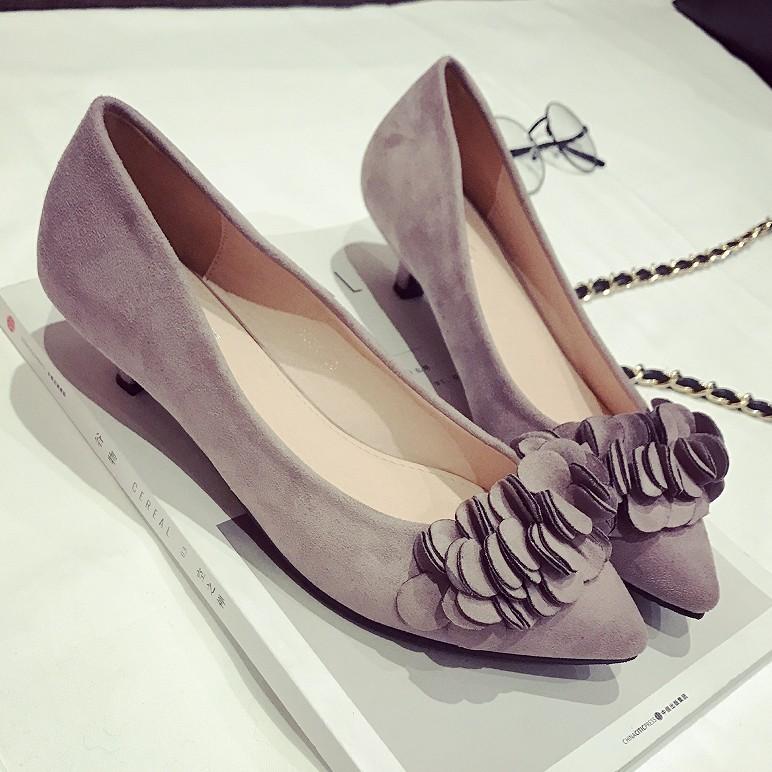 紫色单鞋 早春季甜美花朵装饰浅口尖头优雅女士单鞋小跟低跟舒适女鞋紫色黑_推荐淘宝好看的紫色单鞋