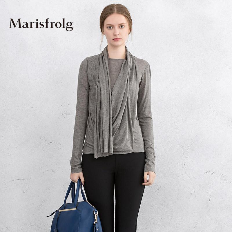 玛丝菲尔正品代购 Marisfrolg玛丝菲尔女装时尚气质不规则内搭长袖上衣秋专柜正品_推荐淘宝好看的玛丝菲尔