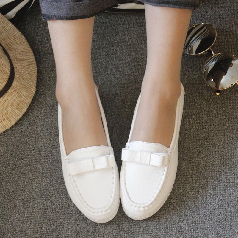 白色坡跟鞋 厚底鞋女单鞋浅口孕妇鞋春秋坡跟豆豆鞋女夏季休闲白色护士鞋_推荐淘宝好看的白色坡跟鞋