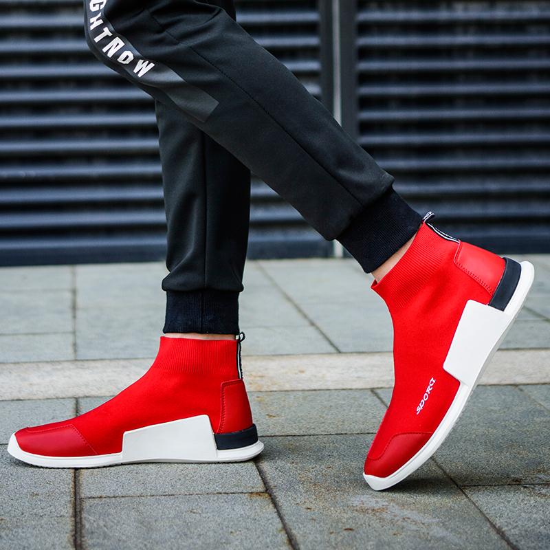 红色高帮鞋 欧洲站高帮男鞋GD权志龙明星同款弹力袜子鞋加绒飞织网面红色板鞋_推荐淘宝好看的红色高帮鞋