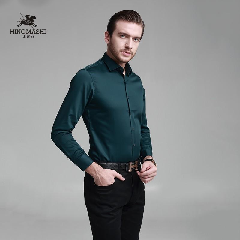 黑色衬衫 纯色衬衫男长袖 韩版纯棉高档修身免烫商务寸衣贡缎高支方领称衫_推荐淘宝好看的黑色衬衫