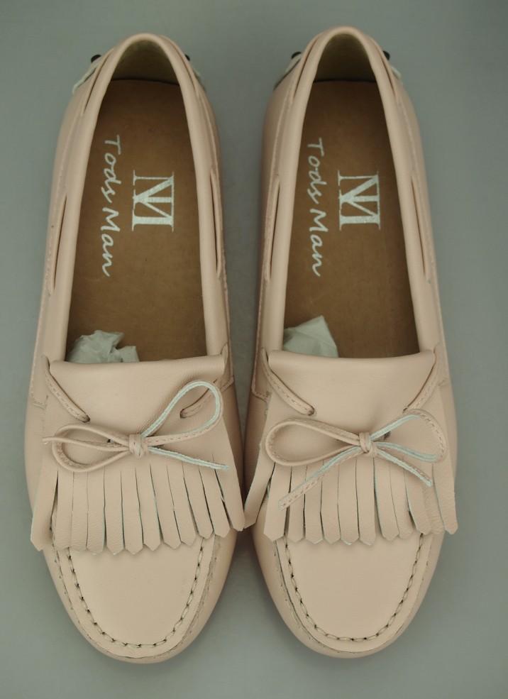 粉红色豆豆鞋 新款夏季豆豆鞋真皮绵羊皮粉红色蝴蝶结流苏款手工圆头休闲鞋女鞋_推荐淘宝好看的粉红色豆豆鞋