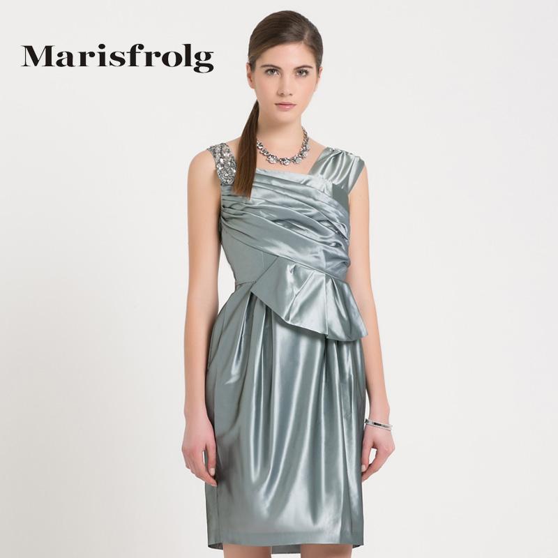 玛丝菲尔女装正品 Marisfrolg玛丝菲尔 不对称设计钉珠连衣裙 专柜正品夏季新女_推荐淘宝好看的玛丝菲尔正品