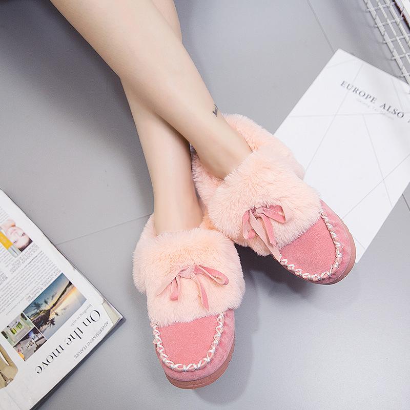 粉红色豆豆鞋 冬天穿的加绒豆豆鞋女平底懒人冬鞋粉红色毛毛保暖棉鞋加棉痘痘鞋_推荐淘宝好看的粉红色豆豆鞋