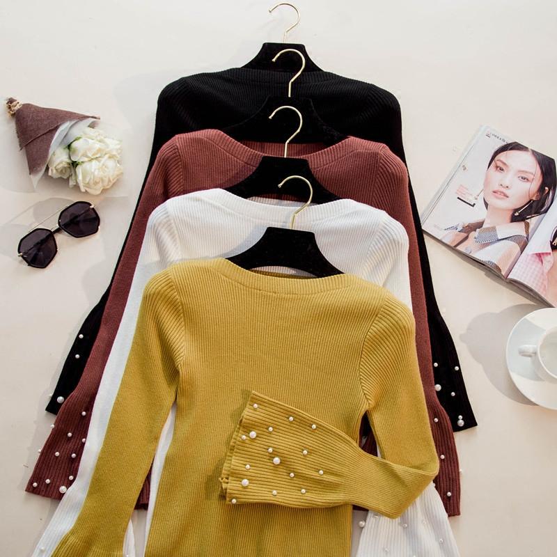 黄色针织衫 天天特价秋款钉珠长袖套头针织衫一字领喇叭袖毛衣女上衣打底衫女_推荐淘宝好看的黄色针织衫