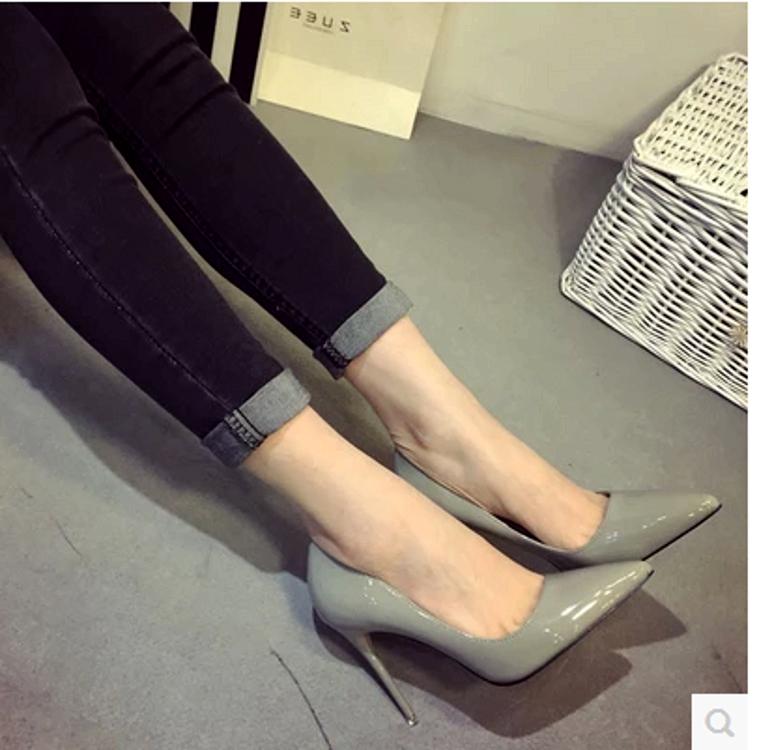 性感高跟鞋 欧美秋鞋裸色高跟鞋细跟尖头鞋性感黑色红色漆皮工作鞋女单鞋10cm_推荐淘宝好看的女性感高跟鞋