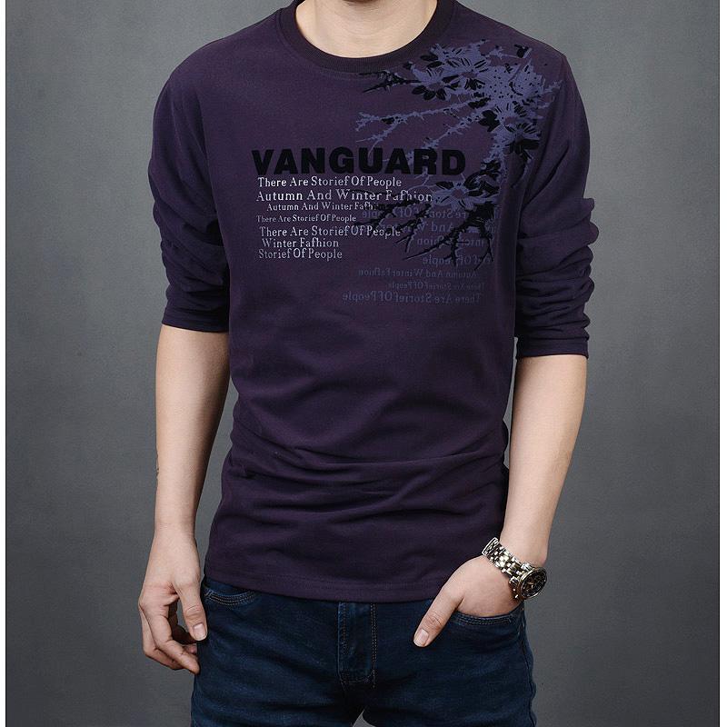 紫色T恤 此时花落秋装新款男士长袖T恤男宽松型圆领男款加肥加大码t恤衫潮_推荐淘宝好看的紫色T恤