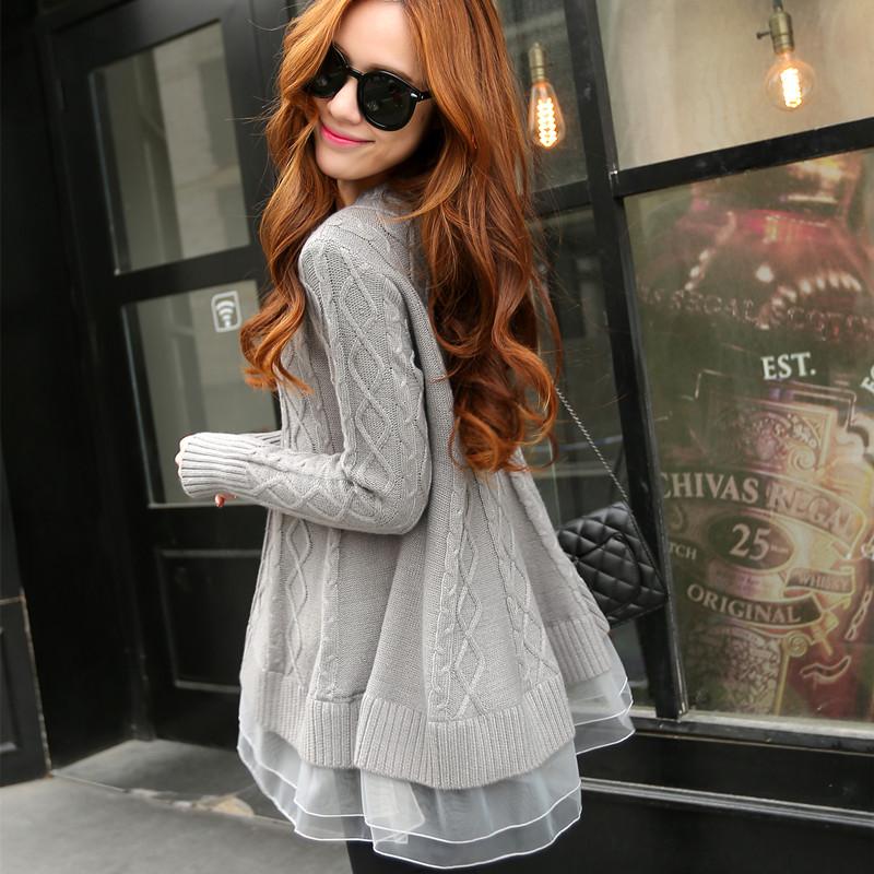 针织衫外套 秋季女装韩版毛衣套头宽松外套中长款蕾丝打底衫女显瘦针织衫上衣_推荐淘宝好看的女针织衫外套