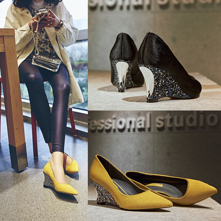 黄色坡跟鞋 尖头坡跟单鞋女浅口鞋2016名媛女神亮片马毛真皮女鞋黄色高跟鞋_推荐淘宝好看的黄色坡跟鞋