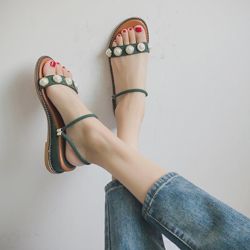 绿色凉鞋 新款2017夏季罗马风格简约中跟露趾坡跟串珠鞋凉珍珠凉鞋女鞋绿色_推荐淘宝好看的绿色凉鞋