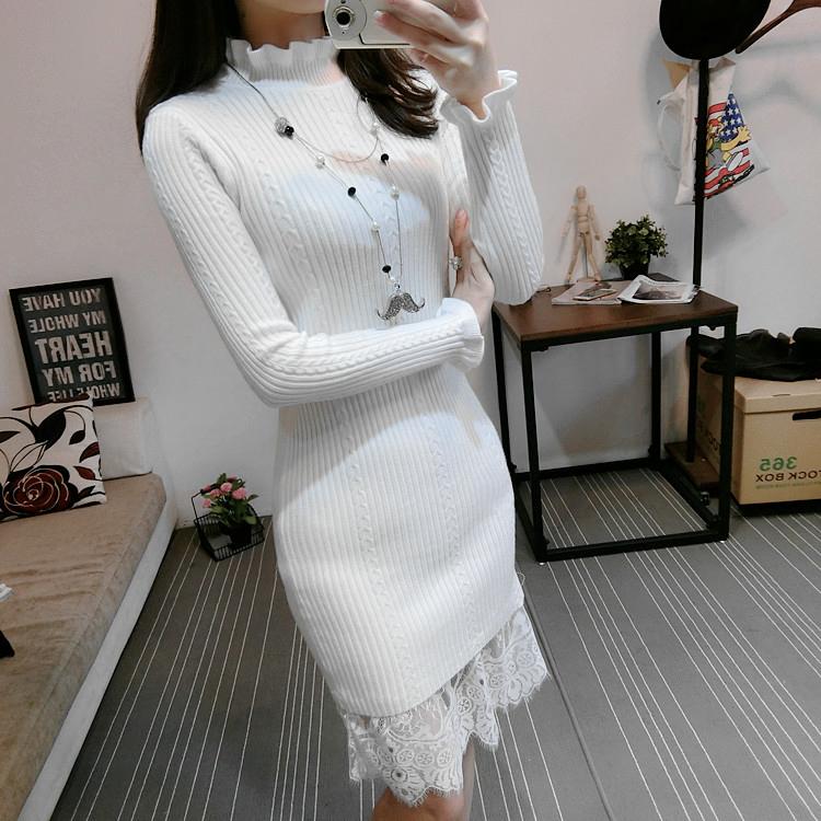 白色修身连衣裙 秋冬新款中长款加厚毛线打底衫长袖修身蕾丝拼接针织毛衣连衣裙女_推荐淘宝好看的白色修身连衣裙