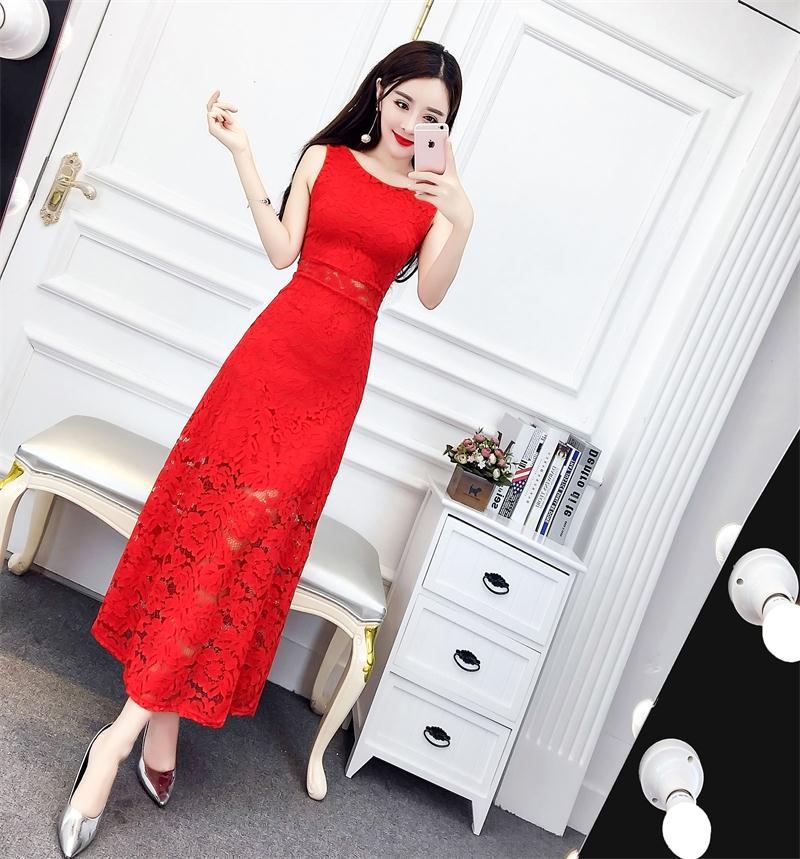 红色蕾丝连衣裙 天天特价夏装名媛气质圆领无袖修身显瘦百搭蕾丝连衣裙礼服长裙女_推荐淘宝好看的红色蕾丝连衣裙