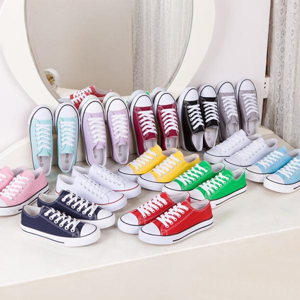 黄色帆布鞋 包邮夏秋白色彩色粉色绿色黄色小白鞋子韩版平底低帮女帆布鞋单鞋_推荐淘宝好看的黄色帆布鞋