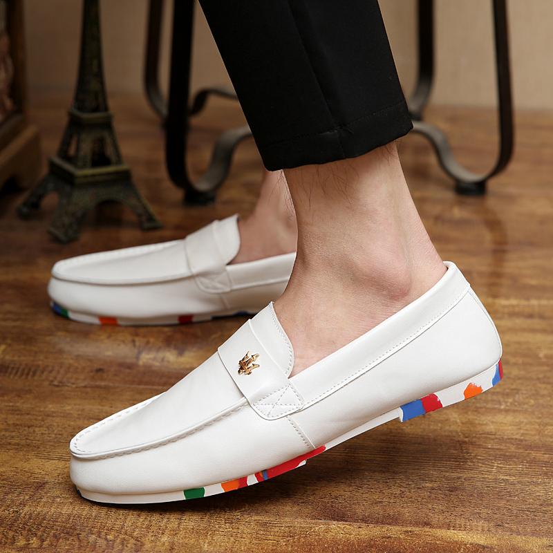 白色豆豆鞋 2016春秋季潮鞋男士休闲鞋黑白色豆豆鞋英伦潮流透气时尚青年男鞋_推荐淘宝好看的白色豆豆鞋