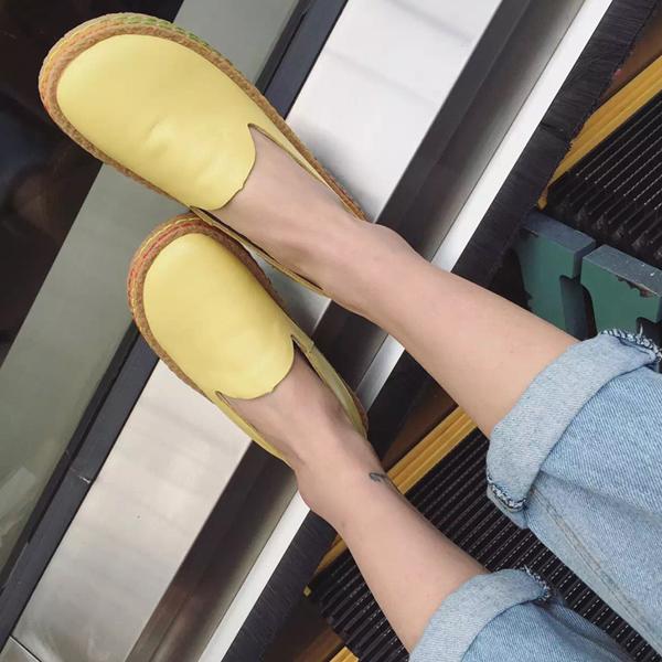 黄色平底鞋 2016夏季新款头层牛皮小白鞋黑色皮鞋黄色夏季真皮女单鞋平底女鞋_推荐淘宝好看的黄色平底鞋