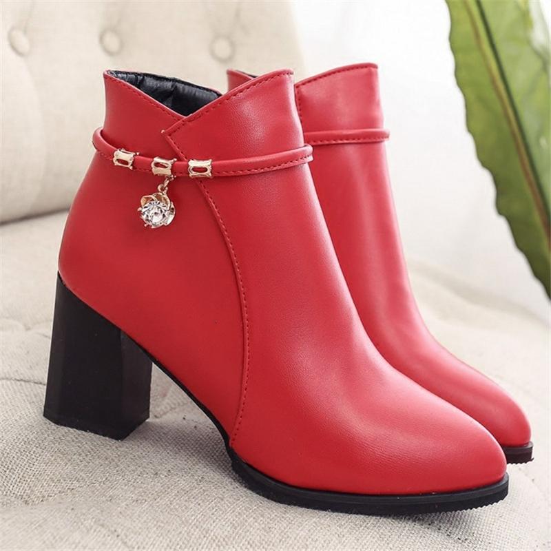 女鞋 红色婚鞋女春秋黑色高跟鞋尖头粗跟大码女鞋短靴短筒女靴水钻女_推荐淘宝好看的女鞋