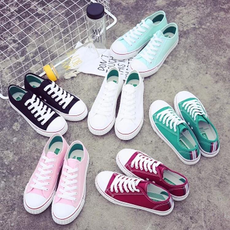 绿色帆布鞋 韩国透气百搭糖果色绿色薄底平跟低帮板鞋女帆布鞋女中学生韩版潮_推荐淘宝好看的绿色帆布鞋