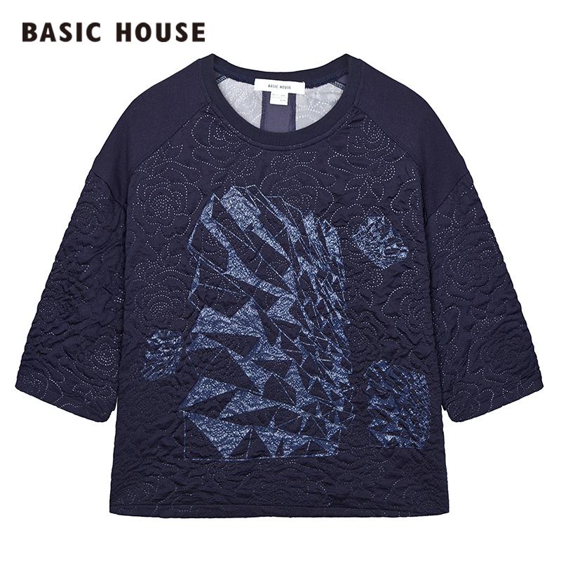 百家好T恤 Basic House百家好新品女士T恤韩版休闲舒适HPTS521A_推荐淘宝好看的百家好T恤女
