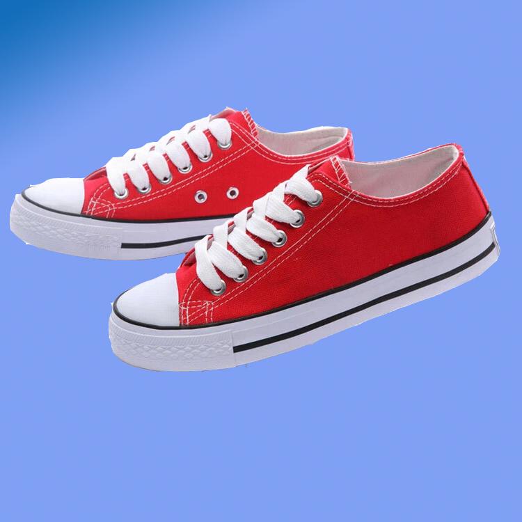 红色帆布鞋 特价新款低帮帆布鞋大码板鞋女夏韩版情侣鞋平底红色懒人鞋休闲鞋_推荐淘宝好看的红色帆布鞋