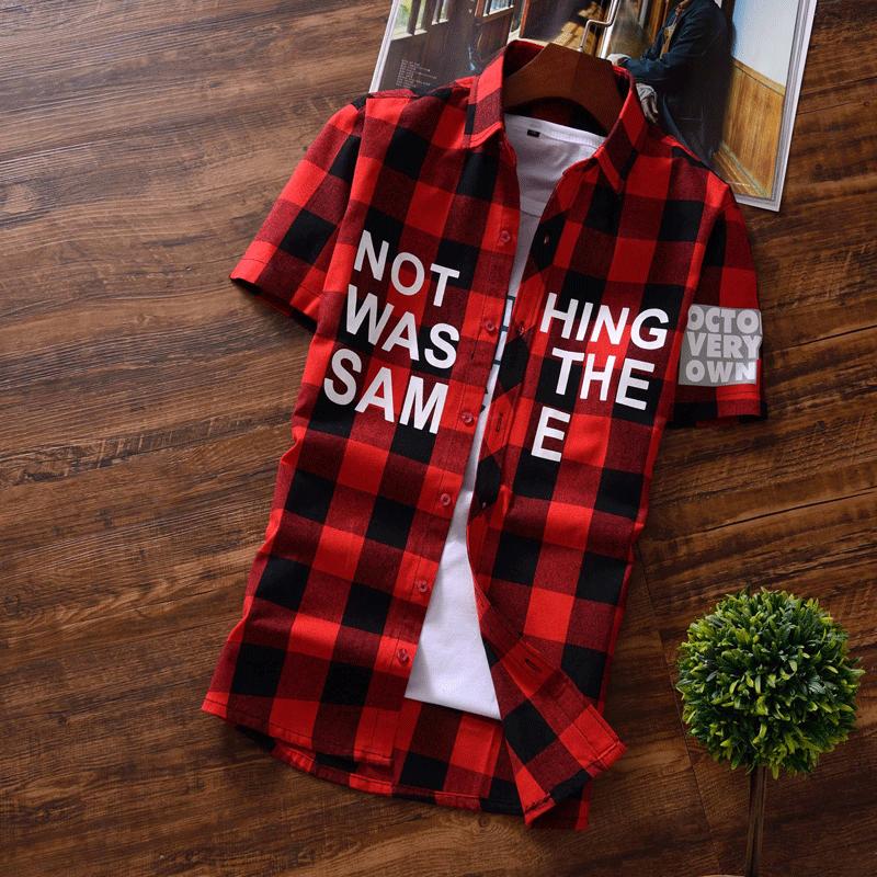 红色衬衫 外穿红黑格子衬衫男短袖修身夏季韩版学生潮流青少年帅气潮牌寸衫_推荐淘宝好看的红色衬衫
