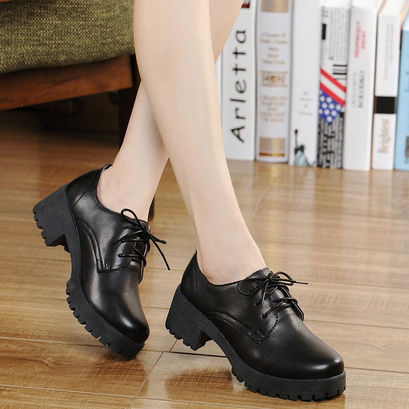 黑色单鞋 小皮鞋女中跟工作鞋春秋季英伦风女鞋粗跟休闲鞋圆头鞋子黑色单鞋_推荐淘宝好看的黑色单鞋