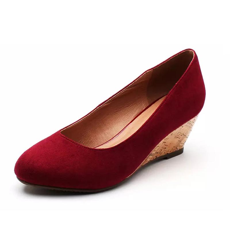 女士坡跟鞋 SHOEBOX鞋柜女单鞋甜美坡跟尖头套脚女鞋舒适透气鞋子1114404231_推荐淘宝好看的女坡跟鞋