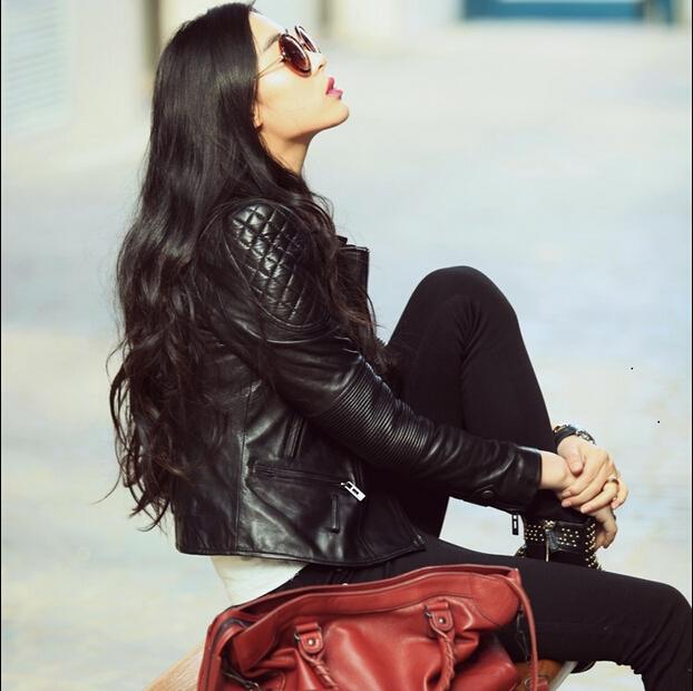 短款海宁皮衣 2017秋海宁绵羊真皮皮衣女短款修身夹克外套机车大码女装女士外套_推荐淘宝好看的女短款海宁皮衣