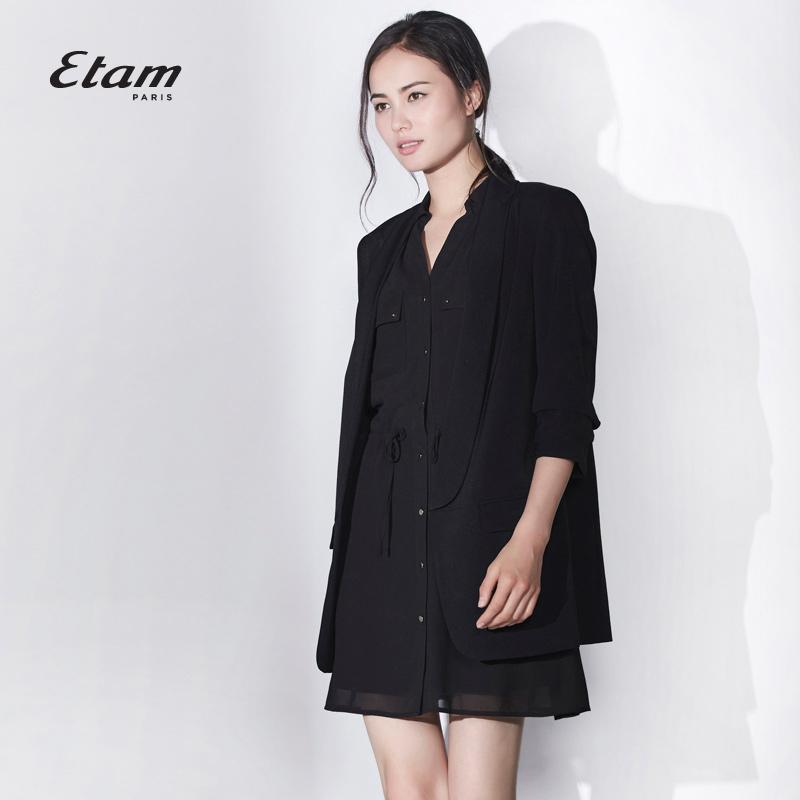 艾格连衣裙 艾格 Etam  夏季时尚百搭黑色无袖V领连衣裙16012221895_推荐淘宝好看的艾格连衣裙