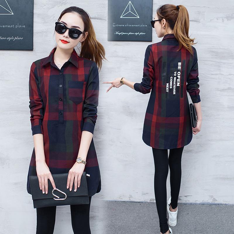 红色格子衬衫 衬衫女修身长袖中长款2017春装新款韩版格子宽松休闲百搭衬衣上衣_推荐淘宝好看的女红色格子衬衫